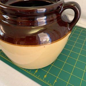 Kitchen - Stoneware Crock Bean Pot Lid USA Pottery Brown Lg